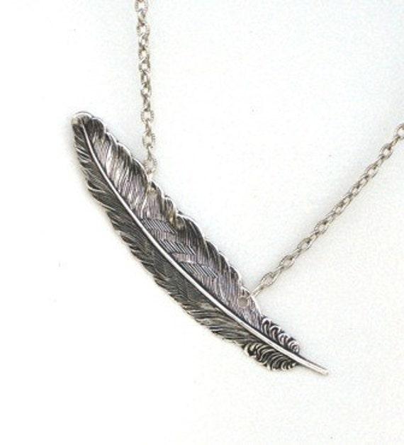 Steampunk FALLEN ANGEL FEATHER Necklace - Antique Silver Pendant - Neo Victorian - GlazedBlackCherry