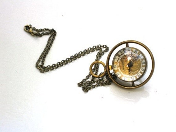 Steampunk Watch Necklace - Time Piece - Pocket Watch is on a Turner - Brass Chain - GlazedBlackCherry