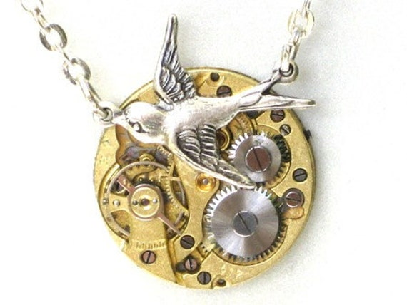 RARE Steampunk - SOARING BIRD Vintage Watch Movement Pendant Necklace - Neo Vicotirian - GlazedBlackCherry 6