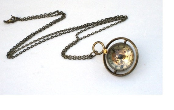 Steampunk Watch Necklace - Time Piece - Mechanical Pocket Watch is on a Turner - Brass Chain - GlazedBlackCherry