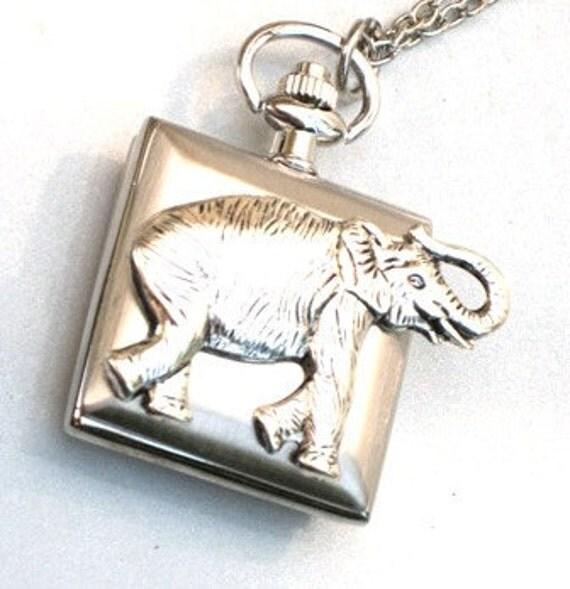 Steampunk - STOMPING ELEPHANT Pocket  Watch Pendant - Necklace - GlazedBlackCherry