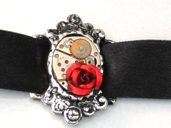 Steampunk - RED ROSE Watch MOVEMENTS Choker - Black Ribbon - Antique Silver Setting - Neo Victorian Jewelry - By GlazedBlackCherry