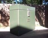 Vintage Green Metal Expanding File Box