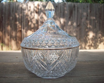 CLEARANCE Vintage Cut Glass Candy Dish