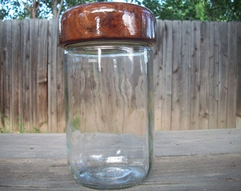 CLEARANCE Vintage Glass Cylinder Canister with Wood Lid