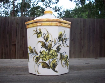 CLEARANCE 30% OFF Vintage Ceramic Floral Canister