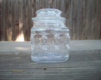 CLEARANCE Vintage Glass Apothecary Canister with Lid