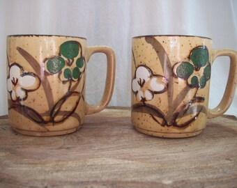 Vintage Set of Floral Mugs