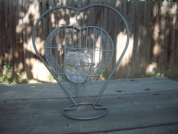 Vintage Heart Birdcage Candle Holder