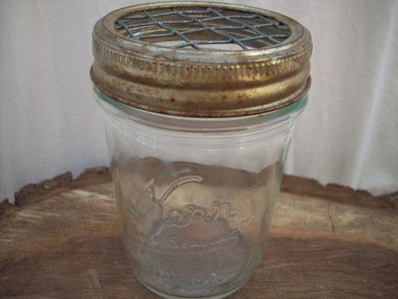 Vintage Kerr Jar With Flower Frog Lid