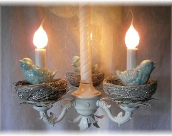 Bird Chandelier Vintage with Birds on Silver glitter Nests