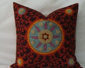 """RESERVED For """"Gail"""" Two - 20 """" x 20"""" Pillow Covers - Suzani and Boucle Embroidery Tribal Thread Sunset- P Kaufmann"""