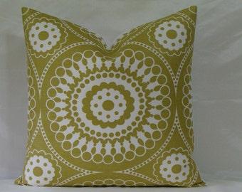"Lee Jofa Groundworks Marrakech Suzani Print in Chartreuse - 18"", 20"", 22"" or 24"" Square Decorative Designer Suzani Pillow Cover"