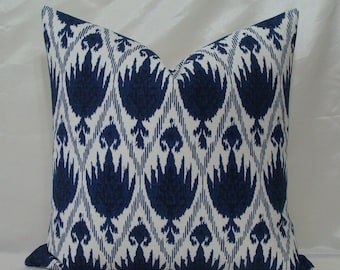 """Designer Ikat Pillow Cover - 18"""" or 20"""" SQUARE Sizes - Indigo/Navy Blue on a White Background"""