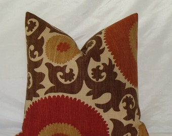 "Designer Suzani Print Decorative Pillow Cover 18"" - 22"" Square - Fahri Clove Basket Weave - Rust,Red,Chocolate Brown and Sand"