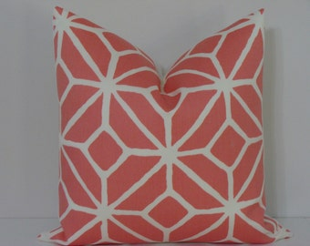 "SALE - Trina Turk Trellis Print in Watermelon - 16"" x 16"" - Designer Pillow Cover"