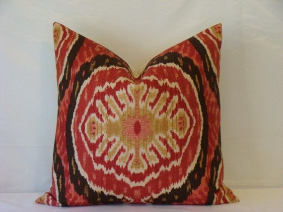 """Decorative 20"""" x 20"""" Designer Pillow Cover - Duralee Ikat - Deep Red,Dark Brown and Taupe on a Natural Background"""