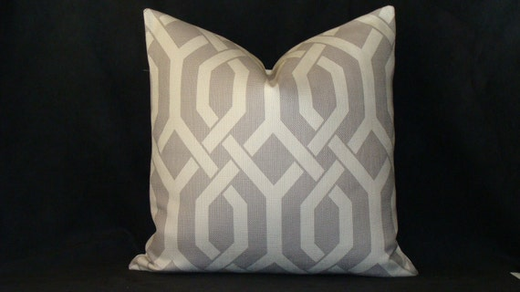 NEW Decorative 20 x 20 Designer Pillow Cover - Grey and Ivory -Gatework Pattern - P Kaufmann