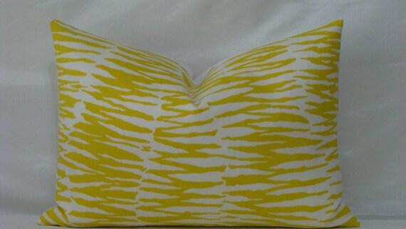 "SALE - Decorative Trina Turk 14"" x 20"" Zebra Print- in Bamboo/Yellow and White Designer Lumbar Pillow Cover"