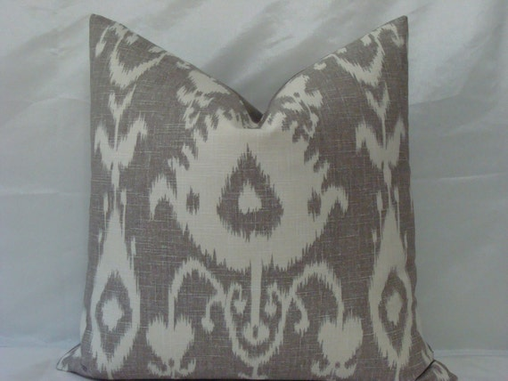 "SALE - SET of TWO - Kravet Ikat Print in Grey/Taupe and Soft White 20"" x 20"" Decorative Designer Pillow Cover"