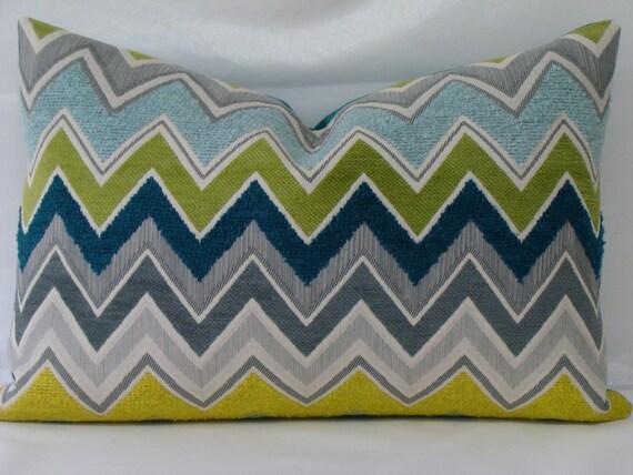 """Zenyatta Mondatta-Schumacher - Lumbar Size Pillow Cover in """"Peacock"""" - Teal ,Yellow, Apple Green, Light Blue, Grey and Off White"""