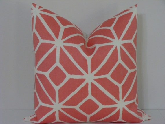 "BOTH SIDES - Trina Turk 18"" x 18"" or 20"" x 20"" Trellis Print-Watermelon Designer Pillow Cover"