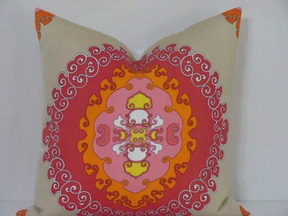 "Trina Turk 22"" x 22"" Super Paradise Print in ""Punch""  Designer Pillow Cover - Indoor/Outdoor"