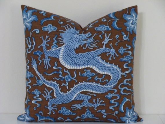 "Scalamandre ""Chi En Dragon"" Decorative Designer Pillow Cover - 18"" x 18"" or 20"" x 20"" - Blue on Brown"
