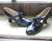 Just Reduced Again  Sale was 125.00 1920s Edwardian BLACK LEATHER Lace PUMPS  Corsette Lace