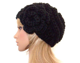 Hand knit hat - black spiral hat - womens accessories - fall fashion - winter fashion by Sandy Coastal Designs - ready to ship