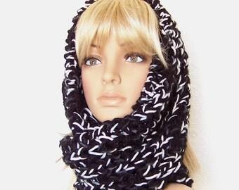 Hand Knit Scarf - Infinity Cowl Scarf - Black, White, Gray mix - Women's Winter Fashion Accessories Sandy Coastal Designs - ready to ship