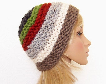 Knit hat - chunky knit beanie - multi color beanie - handmade Winter Fashion Winter Accessories by Sandy Coastal Designs - ready to ship