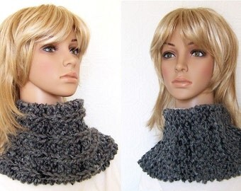 Hand Knit Cowl - Gray Black - Reversible - Chunky Knit Womens Snood Winter Fashion Winter Accessories by Sandy Coastal Designs ready to ship