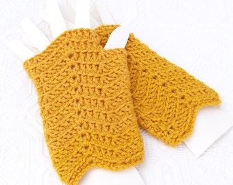 Crocheted Fingerless Gloves, Mittens - Chevron - honey gold - handmade Winter Fashion Winter Accessories ready to ship Sandy Coastal Designs