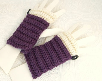 Crocheted Fingerless Gloves, Fingerless Mittens - mulberry - Women's Winter Fashion Accessories, made to order, Sandy Coastal Designs