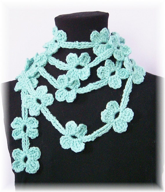 Floral lariat - robins egg blue  - crochet accessories - handmade