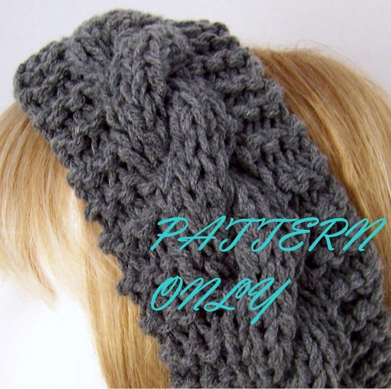Knitted Head Wrap Pattern Free : PDF Knitting Pattern headband head wrap by SandyCoastalDesigns