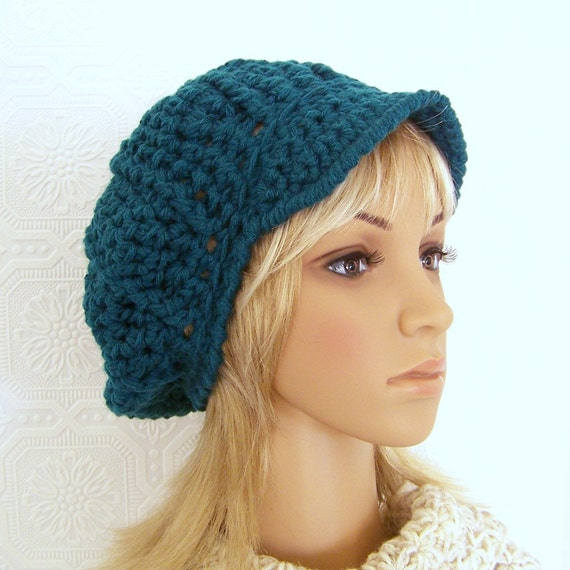 Crochet newsboy, messenger hat - teal - bulky Winter Fashion Accessories by Sandy Coastal Designs - ready to ship