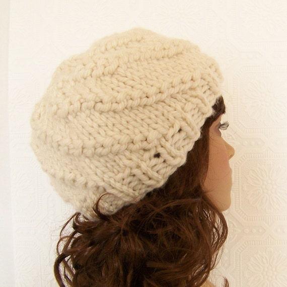 Hand knit hat swirl hat cream chunky by SandyCoastalDesigns