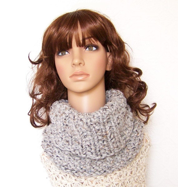 Hand Knit Cowl - Gray marble color - Reversible - Winter Accessories Winter Fashion gift for her by Sandy Coastal Designs - ready to ship