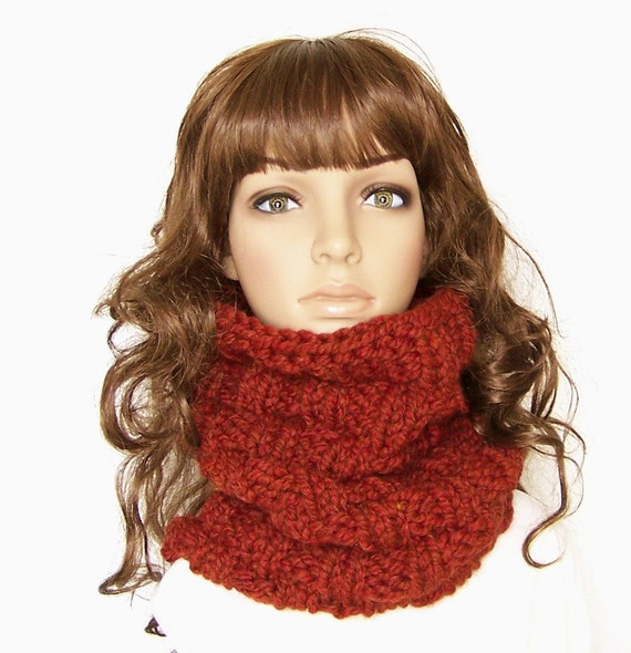Hand Knit Cowl - Burnt pumpkin, spice - chunky knit women's snood Winter Fashion Winter Accessories by Sandy Coastal Designs - ready to ship