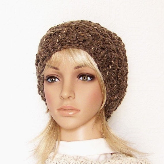 Hand knit chunky hat - barley brown or your color choice - Womens Winter Beanie Winter Fashion - Winter Accessories by Sandy Coastal Designs