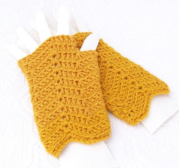 Crocheted Fingerless Gloves, Mittens - Chevron - honey gold - handmade  Winter Fashion Winter Accessories Sandy Coastal Designs