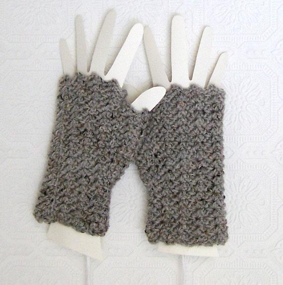Crochet Fingerless Gloves - Fingerless Mittens gray texting gloves handmade Winter Fashion Accessories Sandy Coastal Designs ready to ship