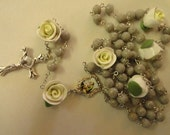 Grey Granite clay rosary with white roses--St.Jospeph