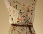 VIntage Linen Dress White with Coral and Tangerine Flowers