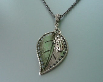 Ladybug on a silver Leaf  Pendant and Chain