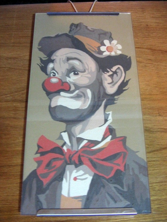 Vintage 1950s HOBO CLOWN PAINTINGS Set of 2