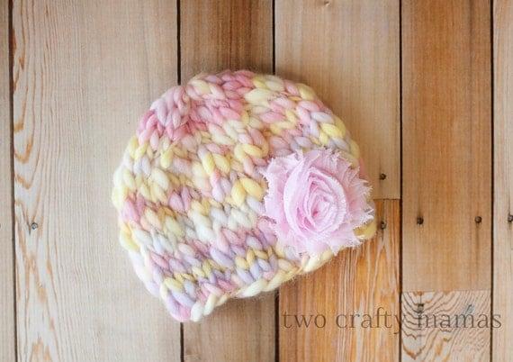 Hand Knit Newborn Spring Beanie (w/ shabby flower clip)