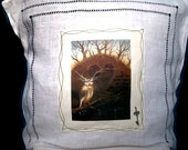 Linen pillowcase handstiched with original picture print and Tibetan key charm embellishment